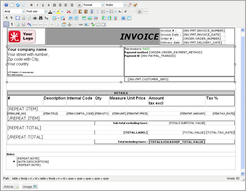 DOCUMENTATION - Buy invoice template